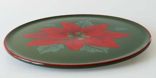 Winterling Tortenplatte 30 cm grün rot Weihnachtsstern gebraucht