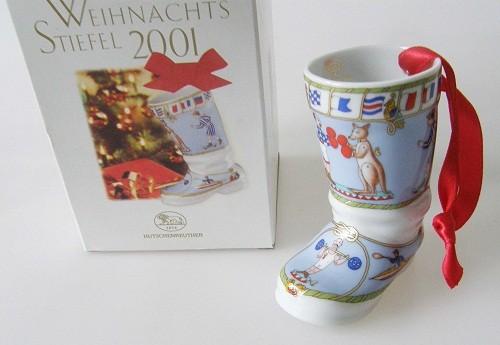 """Hutschenreuther Porzellan Weihnachtsstiefel """"Spielzeug"""" 2001"""
