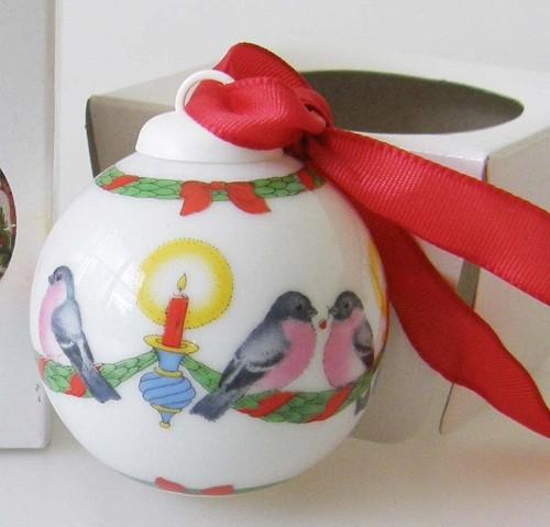 Hutschenreuther Porzellan Mini-Weihnachtskugel Motiv Vogelreigen