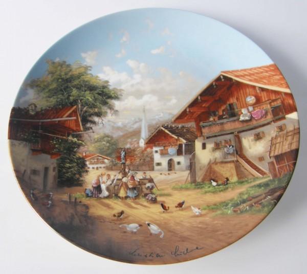 Seltmann Weiden Wand-/Sammelteller 19,5 cm Waschtag am Dorfbrunnen 1987
