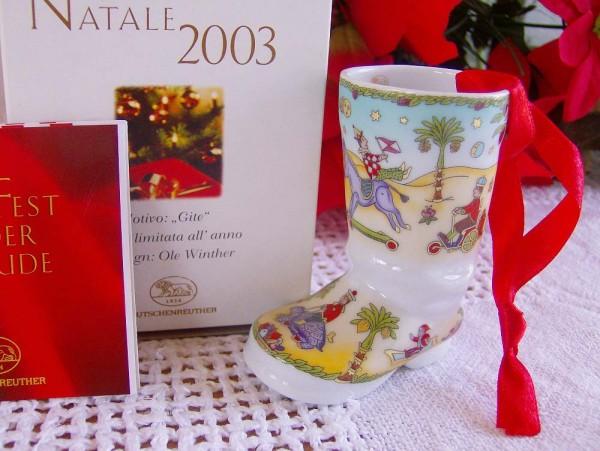 """Hutschenreuther Porzellan Weihnachtsstiefel """"Reisen"""" 2003"""
