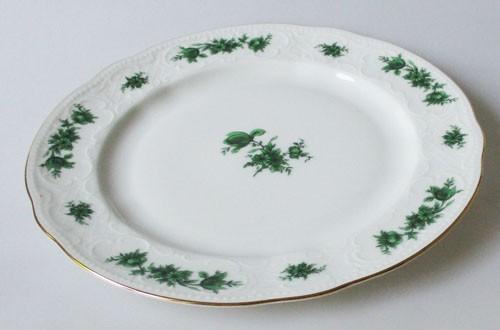 Seltmann Weiden grüne Rose mit Goldrand Frühstücksteller 19,5 cm, gebraucht