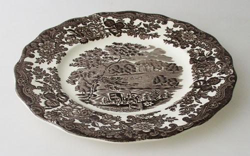 England A Royal Worcester L Avon Scenes Palissy Keramik starkes dunkelbraun Frühstücksteller
