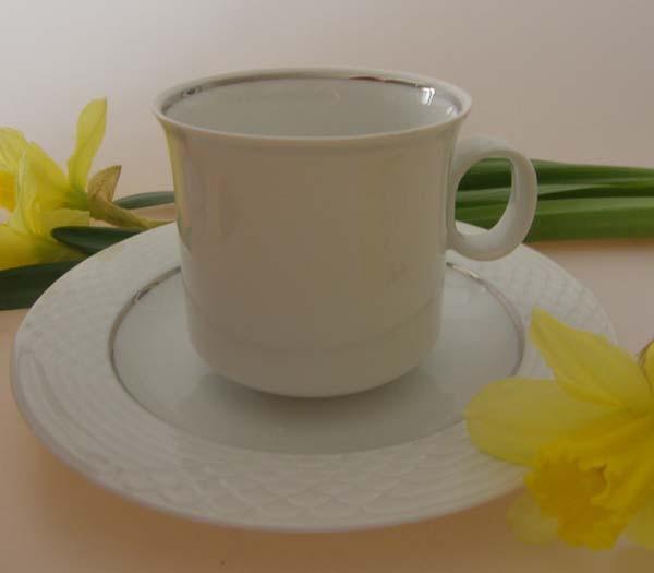 Hutschenreuther Scala weiss / silber Kaffeetasse mit Untertasse, 0,20 l