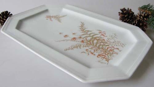 Gallo G.de Porcelaine Leonardo Fougere Goldfarn Servierplatte 29 cm gebr.