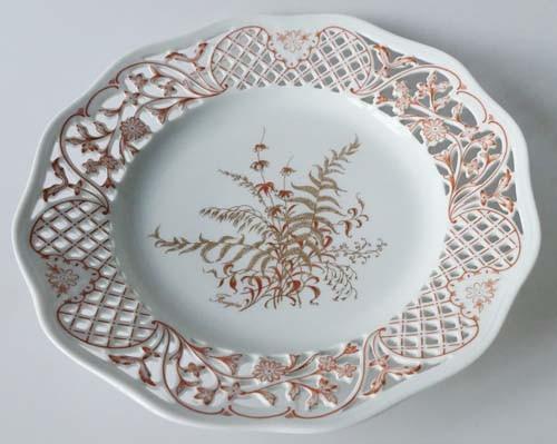 Gallo G.de Porcelaine Leonardo Fougere Goldfarn Gebäckteller 26,5 cm