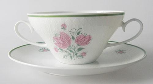 Rosenthal Romanze rosa Blumen, grüner Rand Suppentasse mit Untertasse