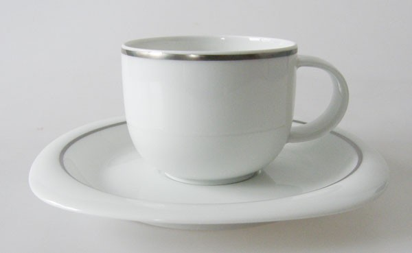 Rosenthal Suomi Lanka Platinrand Kaffeetasse mit Untertasse