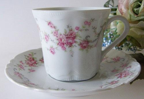 Hutschenreuther Racine Richelieu rosa Kaffeetasse mit Untertasse