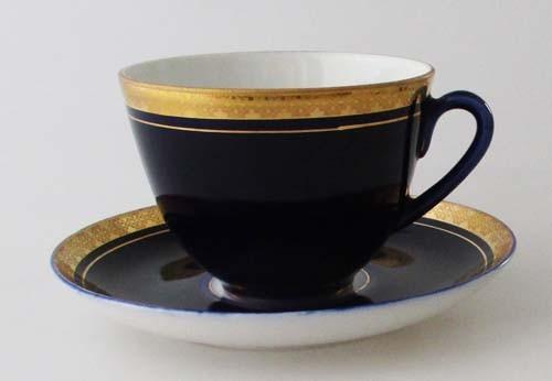 Kaffee-/Teetasse mit Untertasse Romanov Kobaltblau mit gemustertem Goldrand
