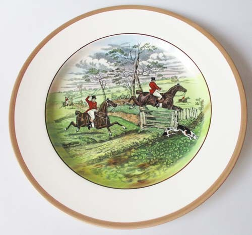 Spode Copeland The Hunt Braun Speiseteller 26,5 cm Off To Draw Nr. 4 J.F.Herring Sen.