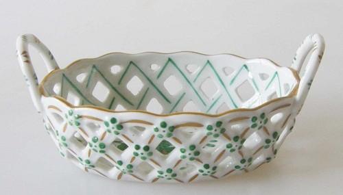 Herend Apponyi grün kleines Durchbruch-Henkelkörbchen 8,5 cm