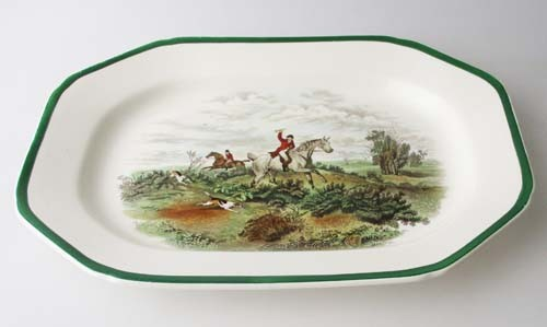 Spode The Hunt Servierplatte 31,5x23 cm grüner Rand, Going To Halloa Nr. 9