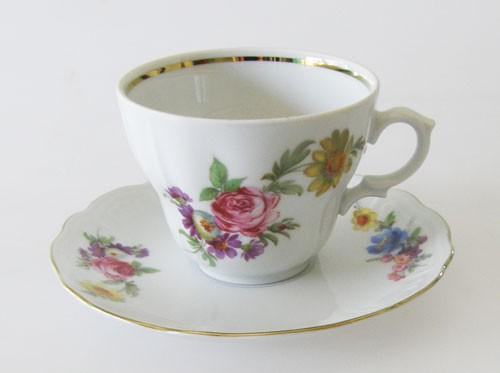 Kaffeetasse mit Untertasse Blumendekor und Goldrand Wundsiedel Retsch