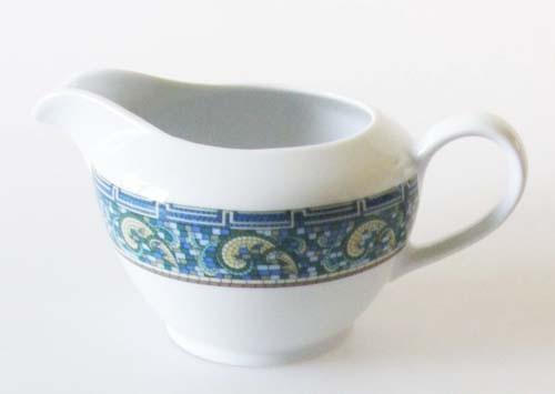 Mitterteich Form 2370 Sauciere 0,40 l Randdekor Mosaik,blau,grün,gelb und braun