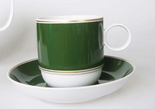 Rosenthal Duo Tonic olivgrün, goldrand Kaffeetasse mit Untertasse
