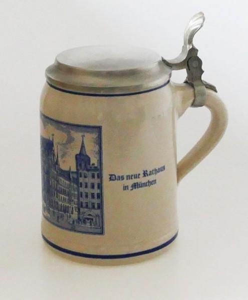 Bierkrug Steinkrug mit Zinndeckel 0,50 l Paulaner Salvator Thomas Bräu AG