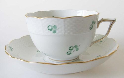 Herend grüne Blumen und Goldrand Korbmuster Kaffee-/Teetasse 2-tlg.