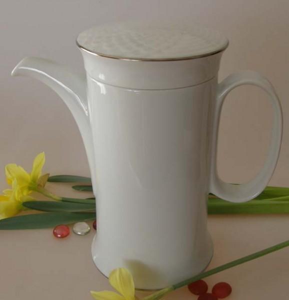 Hutschenreuther Scala weiss / silber Kaffeekanne für 6 Pers. 1,10 l
