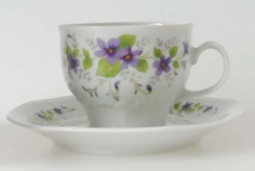 Mitterteich Form 140 Dekor Veilchen lila Kaffeetasse mit Untertasse 0,16 l