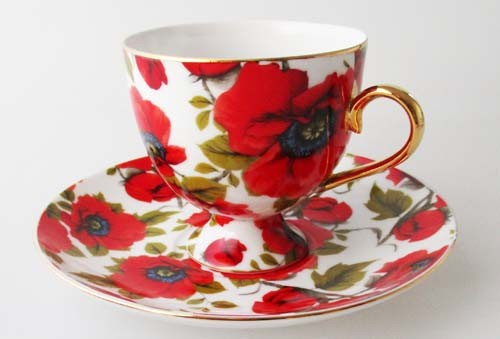 Royal Collection Roma Kaffeetasse mit Untertasse Mohnblumen mit Goldrand