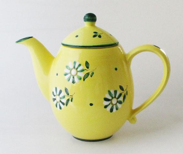 Gmundner Kaffeekanne 1,20 l gelb mit grün-weißen Blumen