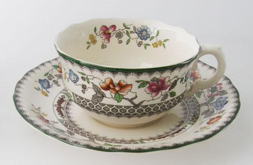 Spode Chinese Rose Teetasse mit Untertasse