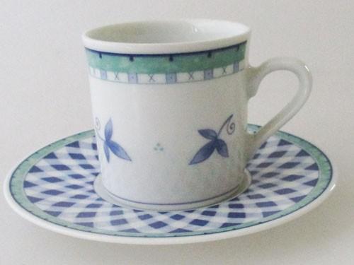 Heinrich Winterling Espressotasse mit Untertasse, Blau-Grüne Blätter