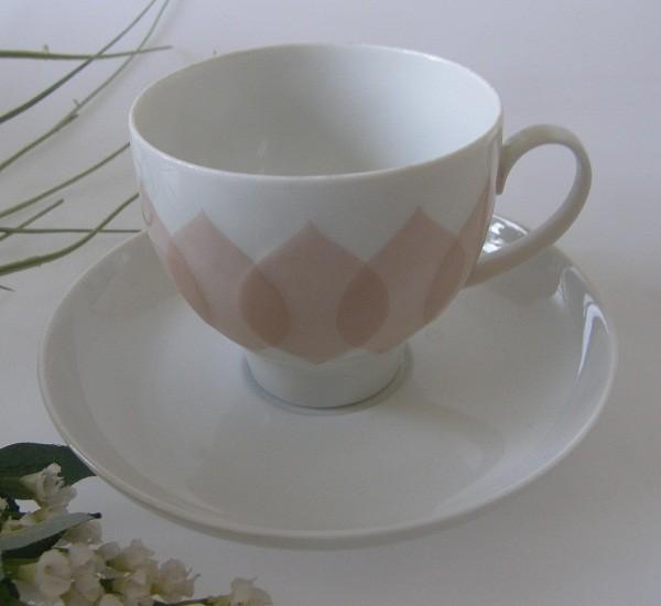 Rosenthal Lotus Gravad Rosa Kaffeetasse mit Untertasse, 2-tlg.