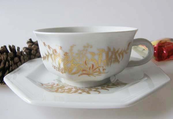 Gallo G.de Porcelaine Leonardo Fougere Goldfarn Teetasse mit Untertasse, 2-tlg.