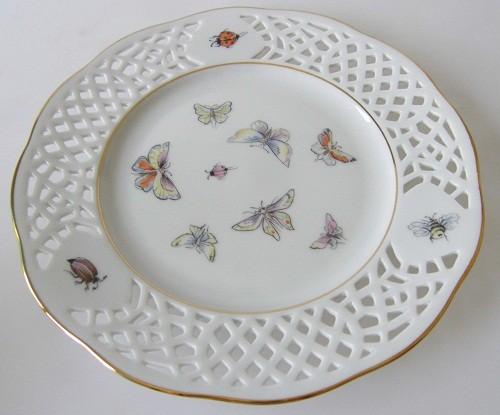 Burg Lindau Durchbruch Schmetterlingsdekor mit Goldrand Frühstücksteller 19,5 cm