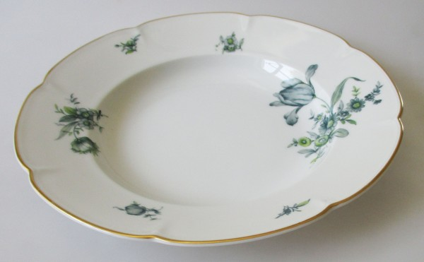 Königl. pr.Tettau Suppenteller 24,5 cm grüne Blumen mit Goldrand