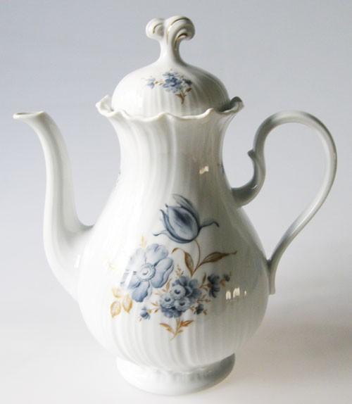 Royal Tettau Venus blaue Blume mit Golddekor Kaffeekanne 1,20 l
