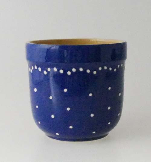Keramik blau mit weissen Punkten Blumentopf Übertopf 9,5 cm