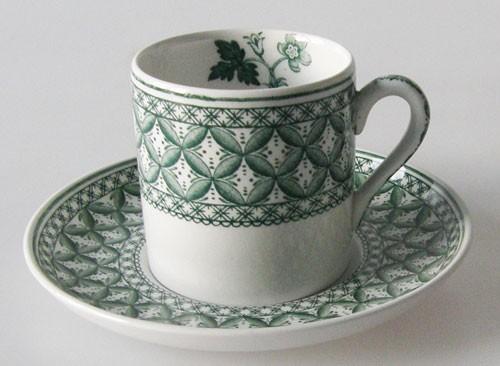 Spode Geranium grün Espressotasse mit Untertasse