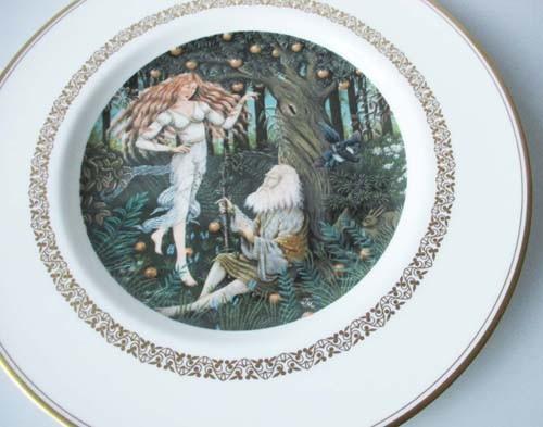 Sammelteller 23 cm Die König Arthur Teller Merlin u. Fee Viviane Royal Worcester