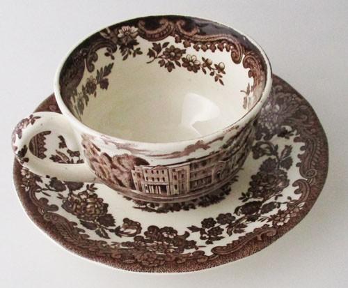 England A Royal Worcester L Avon Scenes Palissy Keramik braun mit Burg Teetasse mit Untertasse 0,18