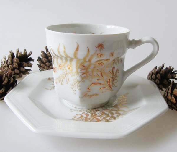 Gallo G.de Porcelaine Leonardo Fougere Goldfarn Kaffeetasse mit Untertasse, 2-tlg.