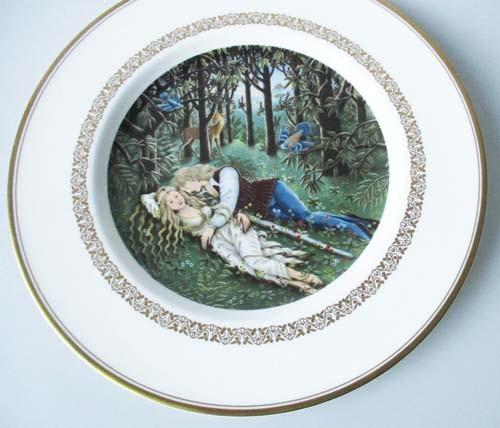 Sammelteller 23 cm Die König Arthur Teller Tristan und Isolde Royal Worcester