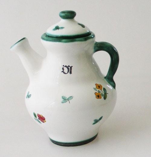 Gmundner Keramik Streublumen Ölkännchen mit Deckel, klein Höhe 13,5 cm