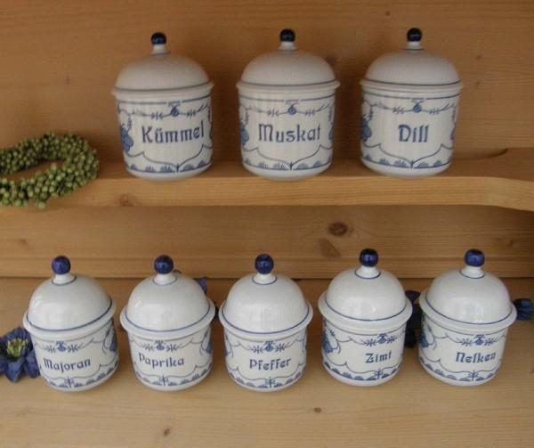 Kahla Friesisch blau Gewürz-Vorratsdosen Set: 8-tlg.