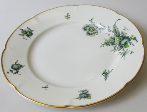 Königl. pr.Tettau Frühstücksteller 19 cm grüne Blumen mit Goldrand