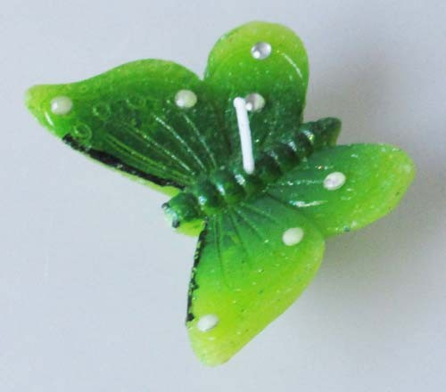 3 Schwimmkerzen Schmetterling grün mit Glitzerpunkte, 7x5 cm