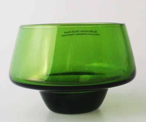 Mikasa Glas Dessert Schale grün mundgeblasen Höhe 6,5 cm