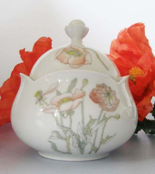 Gallo Galerie de Porcelaine Roter Mohn Zuckerdose 0,20 l