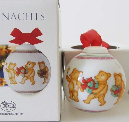 Hutschenreuther Porzellan Mini-Weihnachtskugel Motiv Teddybär