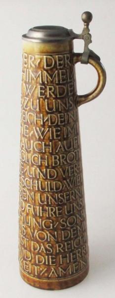 "Merkelbach hoher Bierkrug aus Keramik ""Vater Unser Krug"" 1,20 l"
