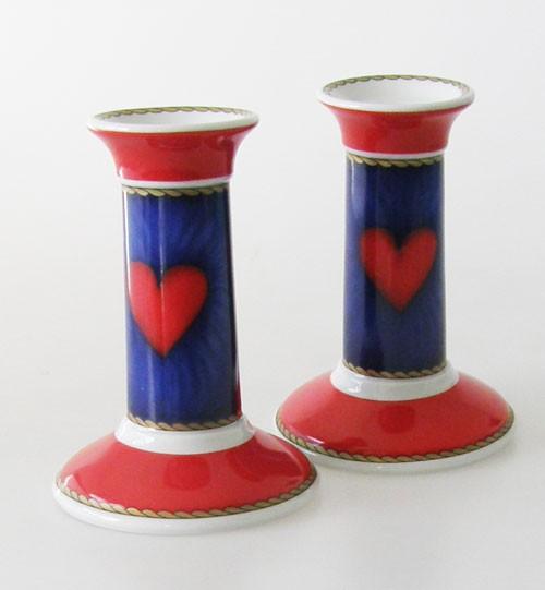Hutschenreuther Louvre Set: 2 Kerzenleuchter, blau-rot, Herzdekor 12,5 cm