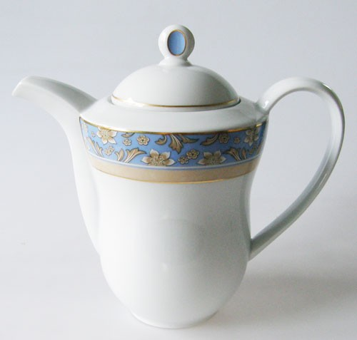 Kaffeekanne weiss, Randdekor blau/gold /floral Hutschenreuther Serie unbekannt