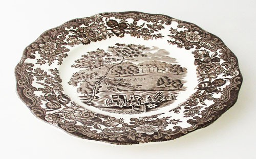 England A Royal Worcester L Avon Scenes Palissy Keramik dunkelbraun mit Burg Frühstücksteller